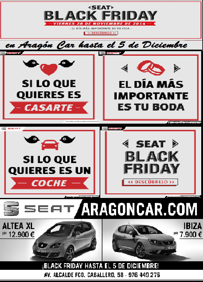 BLACK FRIDAY SEAT ARAGON CAR ZARAGOZA OFERTA BARATO DESCUENTO